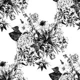 Hand drawn seamless pattern with flowers Stock Image