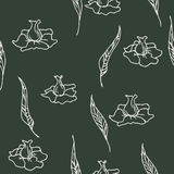 Hand drawn seamless pattern with flowers Royalty Free Stock Photo