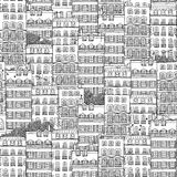 Hand drawn seamless pattern of French style houses Royalty Free Stock Image