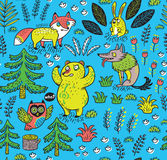 Hand drawn seamless pattern with funny colorful animals Stock Photo