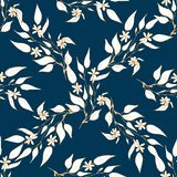 Hand drawn seamless pattern with golden branch with flowers stock illustration