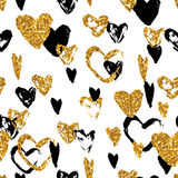 Hand drawn seamless  pattern with golden glitter hearts. Royalty Free Stock Photography