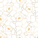 Hand drawn seamless pattern with golden roses vector illustration