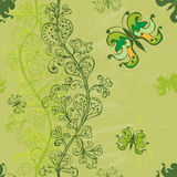 Hand-drawn seamless pattern in green Stock Photo