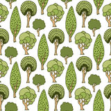 Hand drawn seamless pattern with green doodle trees. Cute summer vector illustration for wallpaper, wrapping, packaging, web site Royalty Free Stock Photography