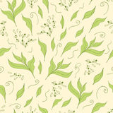 Hand drawn seamless pattern with green tea leaf. Royalty Free Stock Photography