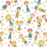Hand drawn seamless pattern with happy children Royalty Free Stock Photos