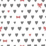 Hand drawn seamless pattern with hearts and bows Royalty Free Stock Photos