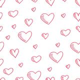 Hand-drawn seamless pattern with hearts stock illustration