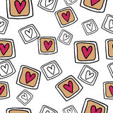 Hand-drawn  seamless pattern with hearts. Hand-drawn doodle seamless pattern with hearts in white Stock Image