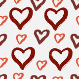 Hand drawn seamless pattern with hearts. Ink grunge texture Stock Photos