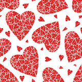 Hand drawn seamless pattern with hearts. Hand drawn seamless pattern with red hearts on white background. One color print. Endless texture can be used for Stock Illustration