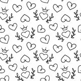 Hand drawn seamless pattern of hearts Royalty Free Stock Images