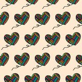 Hand drawn seamless pattern of hearts wool yarn colored rainbow for texture for clothes package wrapping vector illustration