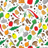 Hand Drawn Seamless Pattern with Herbs And Spices. Hand Drawn Colorful Seamless Pattern with Spices And Herbs Royalty Free Stock Photo