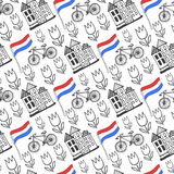 Hand drawn seamless pattern with Holland city elements. Netherlands background for design. Vector travel Stock Images