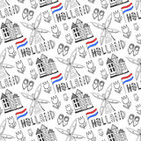 Hand drawn seamless pattern with Holland culture elements. Netherlands background for design. Vector illustration. Stock Photo