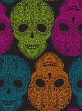 Hand drawn seamless pattern with human skulls in ornate style Stock Photography
