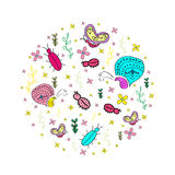 Hand drawn seamless pattern with insects. Stock Image