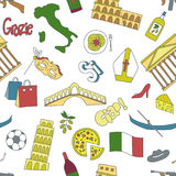 Hand drawn seamless pattern with Italy symbols - Pisa tower Coliseum mafia carnival theater football wine olive oil Stock Photography