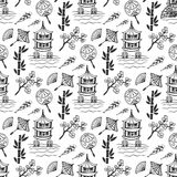 Hand drawn seamless pattern with Japan culture elements, nature and architecture. Japan background for design. Vector Stock Images