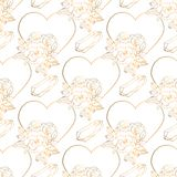 Hand drawn seamless pattern with jewerly and floral elements vector illustration
