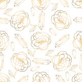 Hand drawn seamless pattern with jewerly and floral elements royalty free illustration