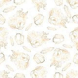 Hand drawn seamless pattern with jewerly and floral elements stock illustration