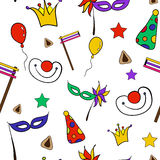 Hand drawn seamless pattern of Jewish holiday Purim: carnival masks and hats, traditional Hamantaschen cookies. Hand drawn doodle elements set for Jewish holiday Royalty Free Stock Photography