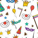 Hand drawn seamless pattern of Jewish holiday Purim: carnival masks and hats, traditional Hamantaschen cookies Royalty Free Stock Image