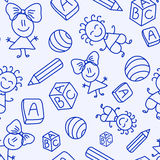 Hand drawn seamless pattern with kids