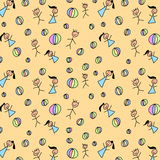 Hand drawn seamless pattern with kids Stock Image