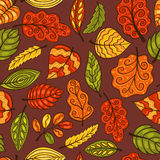 Hand-drawn seamless pattern with leaves Royalty Free Stock Images