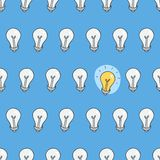 Hand drawn seamless pattern of light bulbs. Idea symbol. Stock Photo