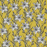 Hand drawn seamless pattern with lilly flowers royalty free illustration