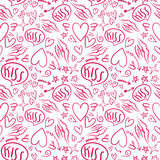 Hand drawn seamless pattern with a lipstick kiss prints on white background. Hand drawn vector seamless pattern with a lipstick kiss prints on white background Royalty Free Stock Photos