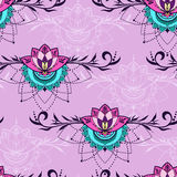 Hand-drawn seamless pattern with lotus in east style. Seamless pattern with lotuses in east style. Can be used for backgrounds, business style, tattoo templates royalty free stock image