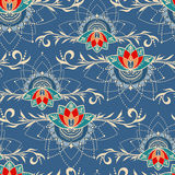 Hand-drawn seamless pattern with lotus in east style. Seamless pattern with lotuses in east style. Can be used for backgrounds, business style, tattoo templates stock images