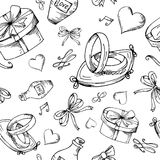 Hand drawn seamless pattern with love elements. Vector sketch illustration for valentine, wedding, save the date Stock Photos