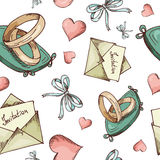 Hand drawn seamless pattern with love elements. Vector sketch illustration for valentine, wedding, save the date Stock Photography
