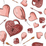 Hand drawn seamless pattern with love elements. Vector sketch illustration for valentine, wedding, save the date Royalty Free Stock Images