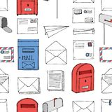 Hand drawn seamless pattern. Mail, post, letter, envelope, paper plane,mailbox cartoon Set. Vector illustration. Delivery Doodle d. Ecorative elements. Mail and stock illustration