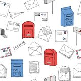 Hand drawn seamless pattern. Mail, post, letter, envelope, paper plane,mailbox cartoon Set. Vector illustration. Delivery Doodle d. Ecorative elements. Mail and royalty free illustration