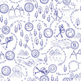 Hand drawn seamless pattern, maps,  picnic, travel, hiking and camping. Royalty Free Stock Images