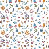 Hand drawn seamless pattern of marine symbols. Cartoon marine ic Stock Images