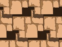 Hand-drawn seamless pattern of masonry in the space of dark background. stock illustration