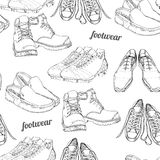 Hand drawn seamless pattern Men Footwear. Casual and sport style, gumshoes for man. Shoes for all seasons. Retro and Stock Image