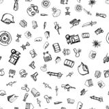Hand Drawn seamless pattern military doodles. Sketch style icons. Decoration element. Isolated on white background. Flat design. vector illustration