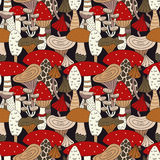 Hand drawn seamless pattern of mushroom and toadstools. Vector illustration. Royalty Free Stock Photo