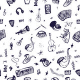 Hand drawn seamless pattern with Music Instruments in vector with guitar, rock, bass. Doodle mystical items in rough Stock Photo